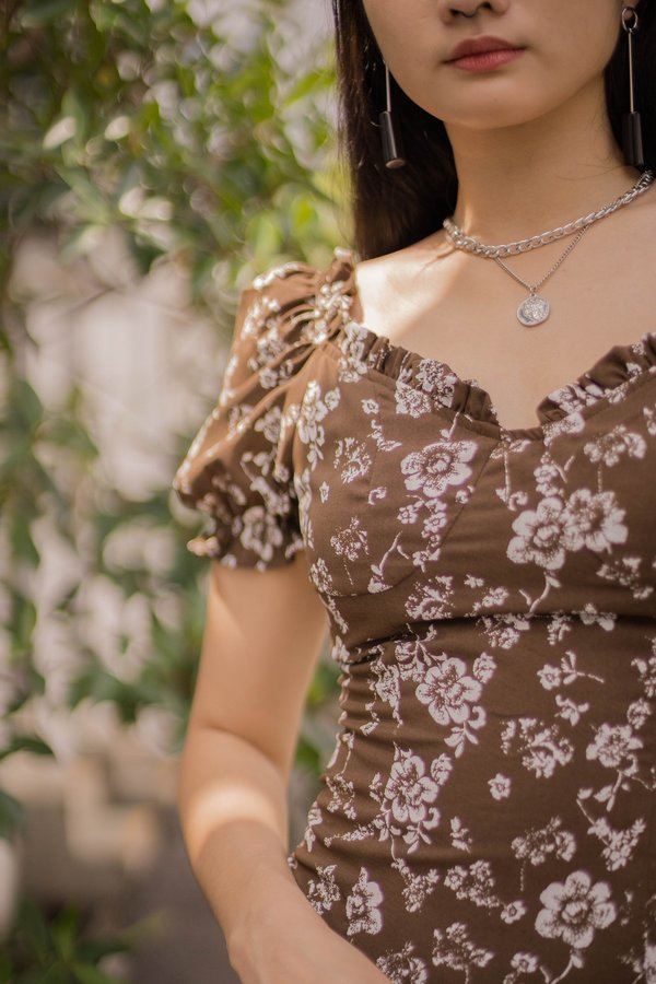 Obsession Dress in Brown Floral