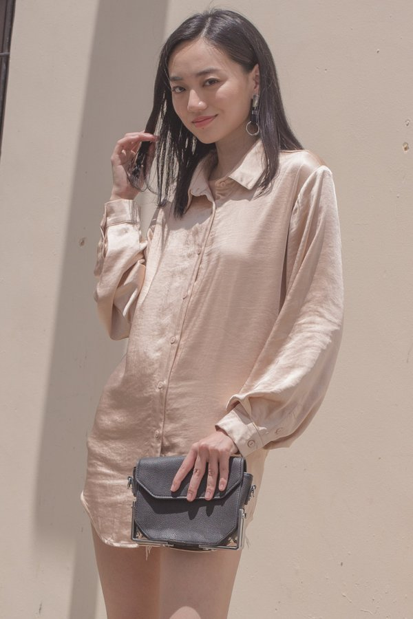 Up All Night Shirt in Champagne