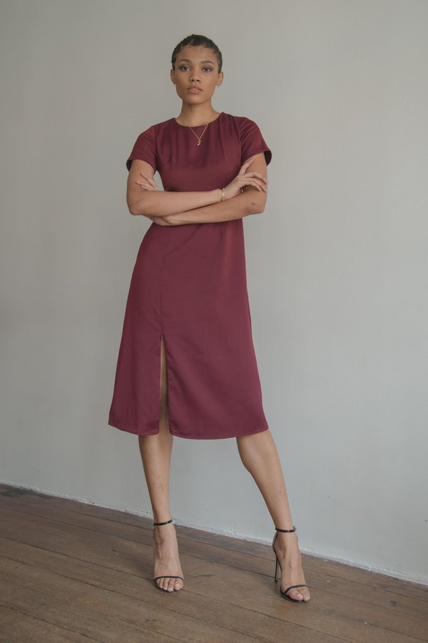 Dazed Midi in Oxblood Red
