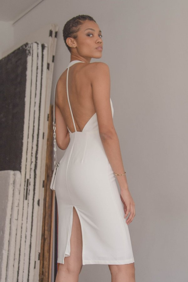Play Back Dress in White