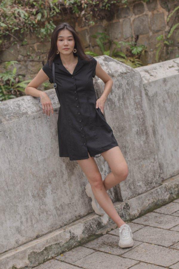 Explorer Buttons Dress in Black