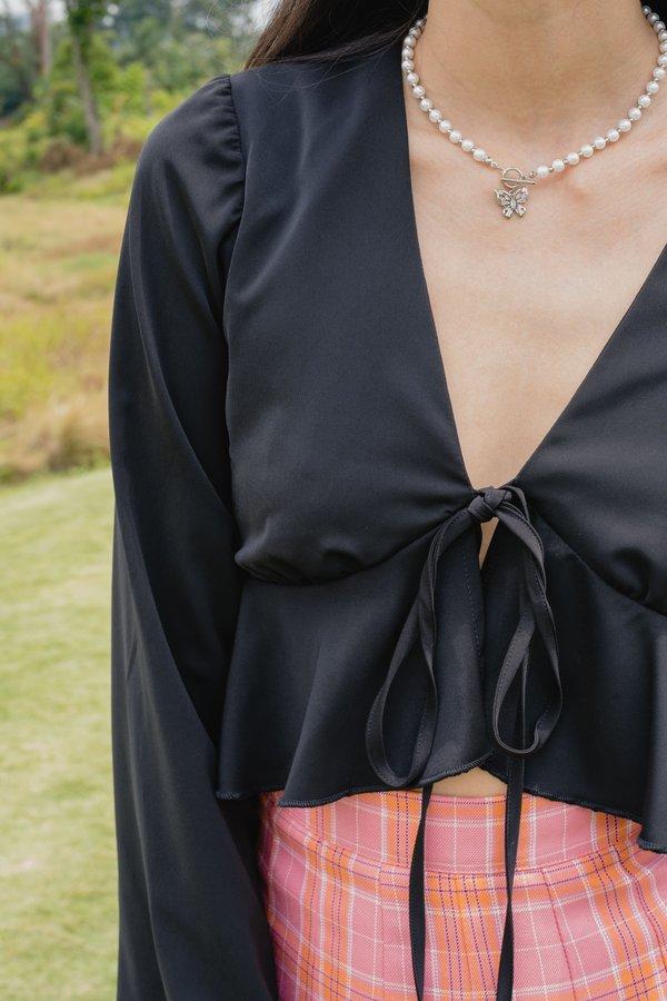 Flaunt Tie Top in Black