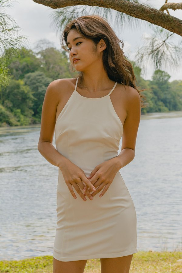 Looped Over Dress in White