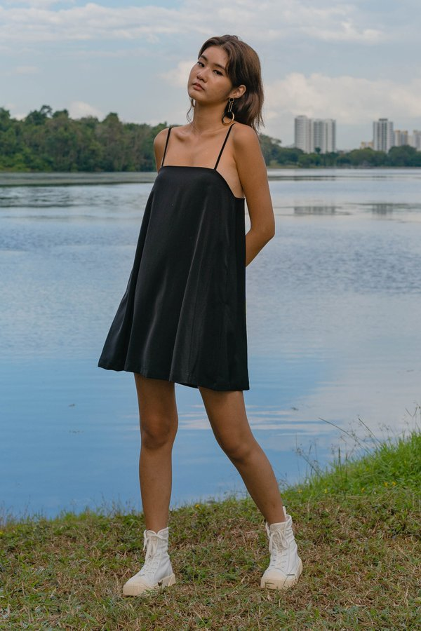 Clear Cut Cami Dress in Black