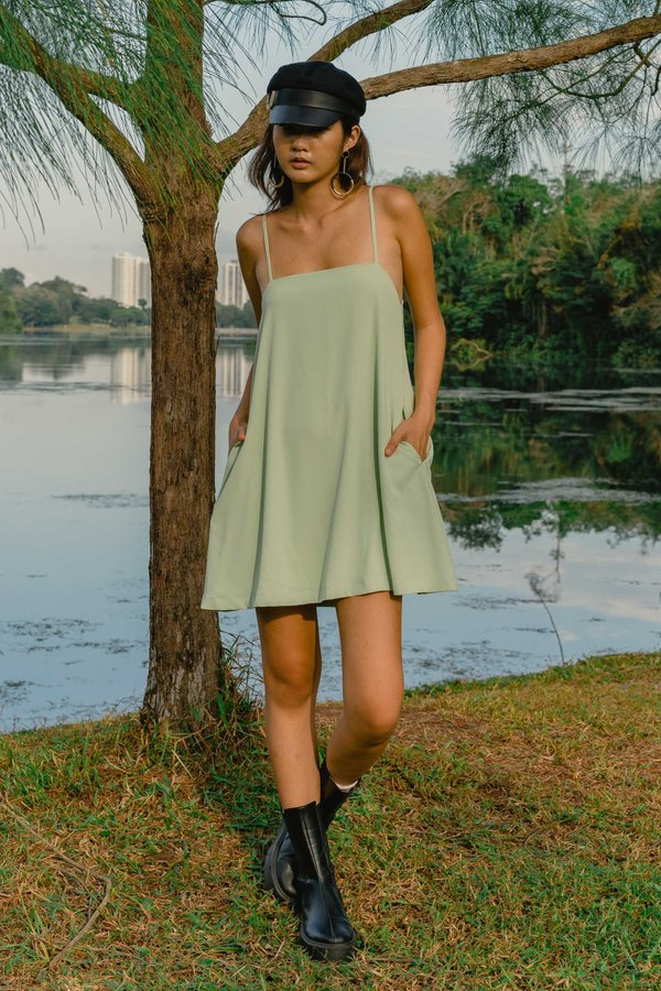 Clear Cut Cami Dress in Celery Green