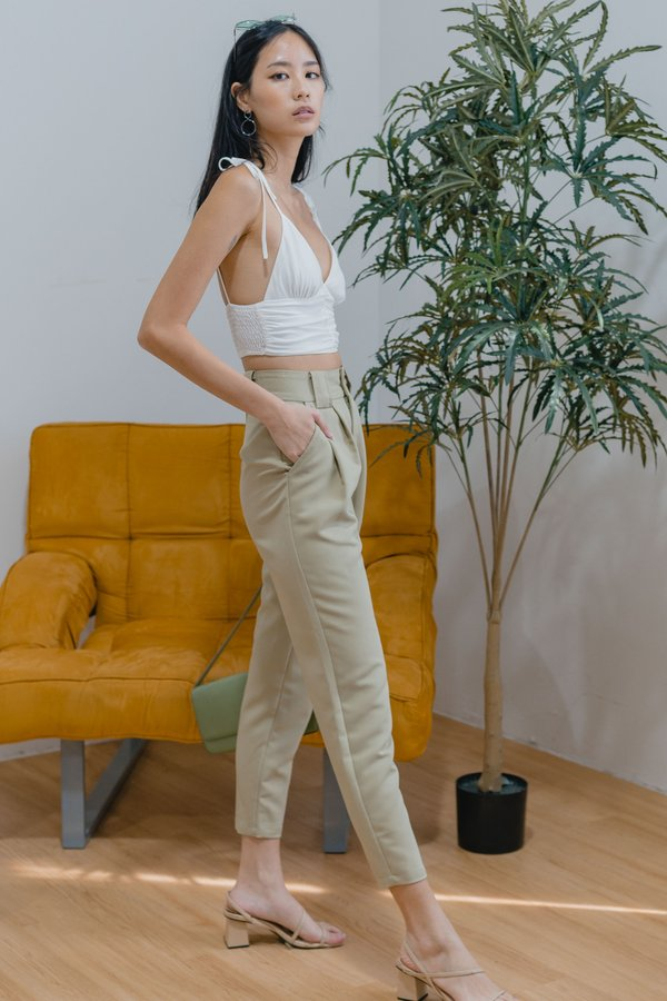 Take The Lead Pants in Dull Avocado Green