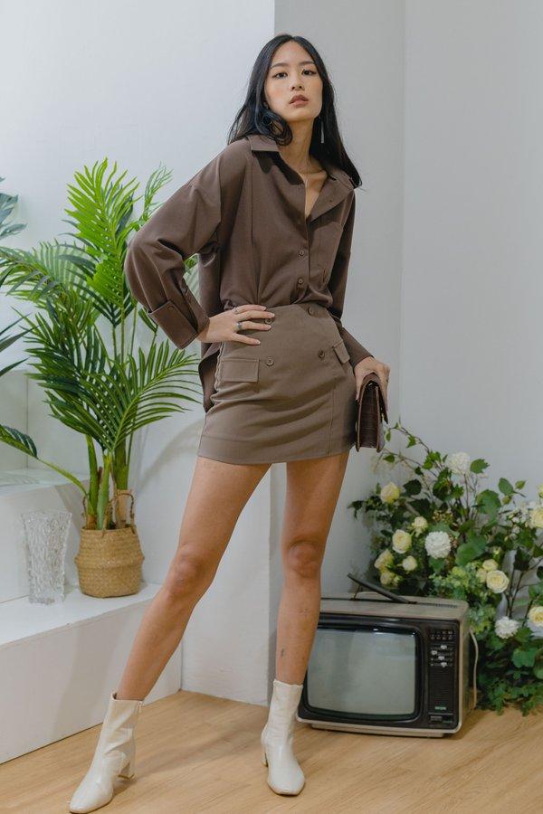 *PRE ORDER* So Fetch Skirt in Brown Grey