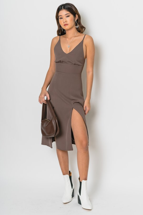 Double Down Midi in Pitch Brown