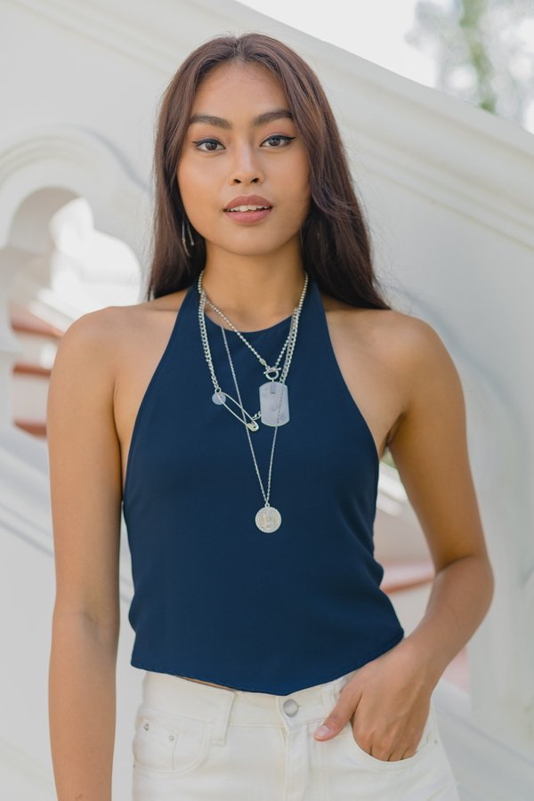 Two Fold Halter Top in Deep Blue