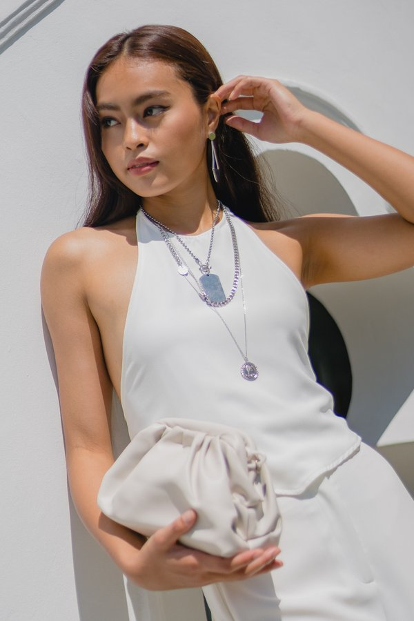 Two Fold Halter Top in White