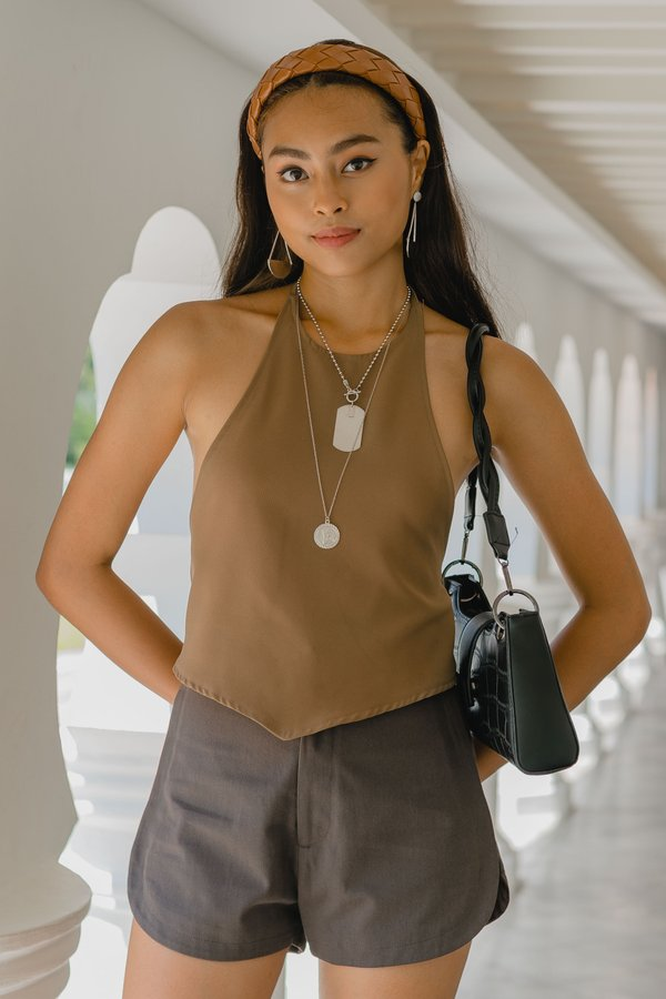 Two Fold Halter Top in Bark Brown