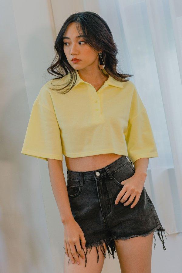 Rewind Polo Tee in Bright Yellow