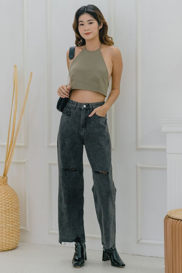 Ripped Straight Cut Jeans in Grey Wash
