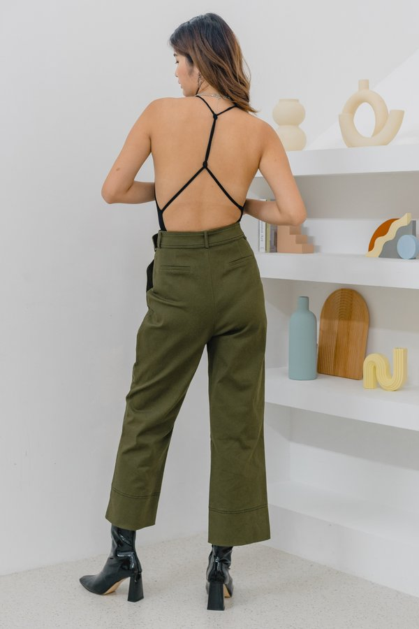Contrast Pants in Olive Green